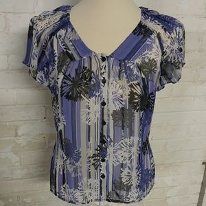 Sheer purple and gray button up blouse size small